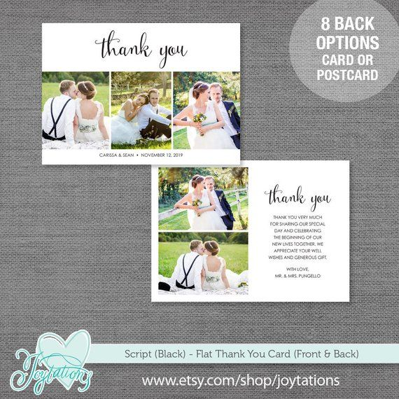 Thank You Card or Postcard with Photos Printed or Digital File, Script, Black, L...