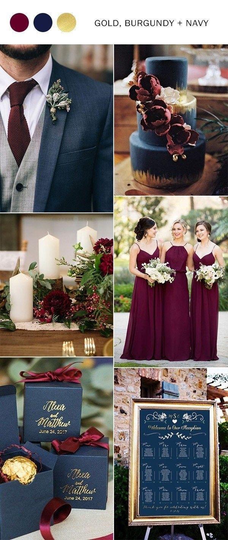 Navy Blue Burgundy and Gold Fall Wedding Color Ideas #Wedding Ideas #Hochzei ...