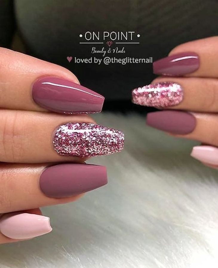 46 Elegant Acrylic Ombre Burgundy Coffin Nails Design for Short and Long Nails -...