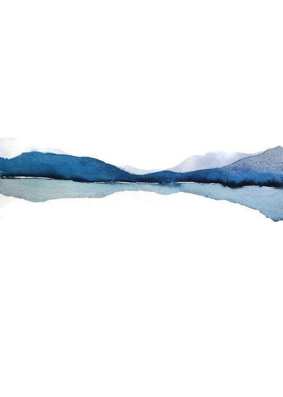 Modern landscape print abstract watercolor. Gray, blue, white, black. NancyKn ...