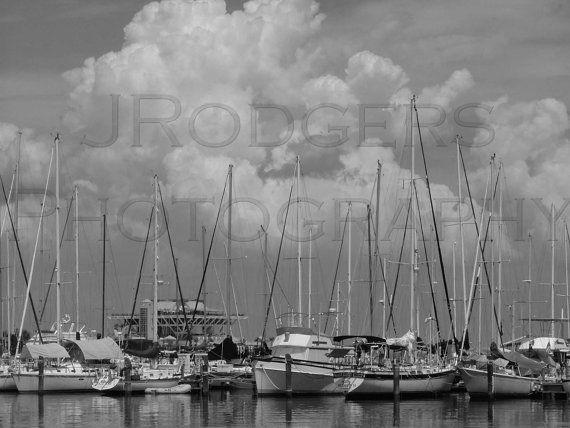 St. Petersburg, FL Marina Landscape, Black and White photograph with White Matti...
