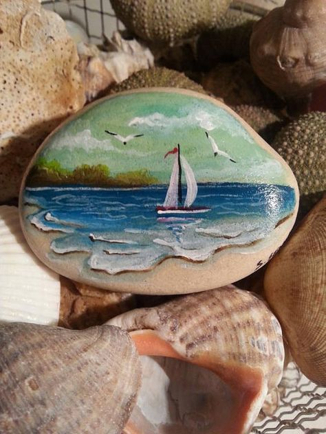 Beach stone painting, Seascape painting stone, Painted rock art, Sailboat stone,...