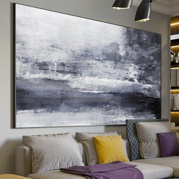 Black White Painting,Large Abstract Painting, Landscape, Horizontal Wall Art,Han...