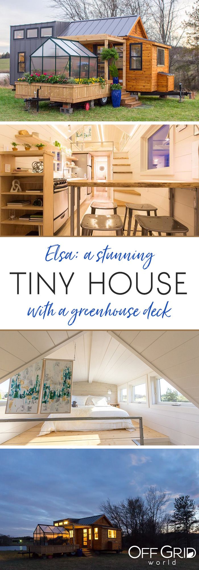 This beautiful tiny house has a greenhouse and pergola. What more could you ask,...