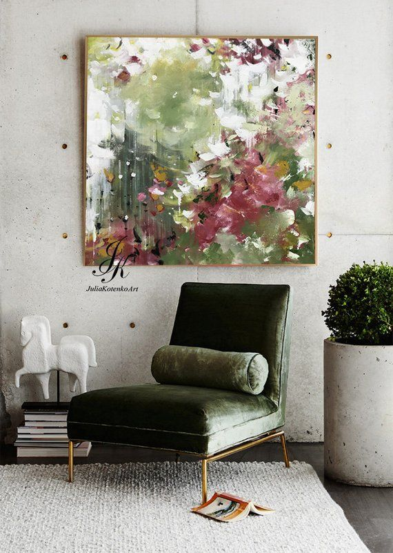 Large abstract acrylic painting wall art wall decor modern painting with texture a ...