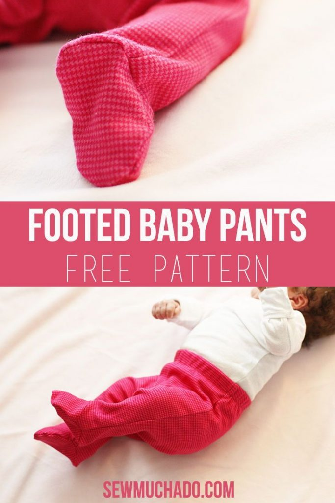 The BEST baby pants pattern! Sew DIY footed baby pants with this free pattern! S...
