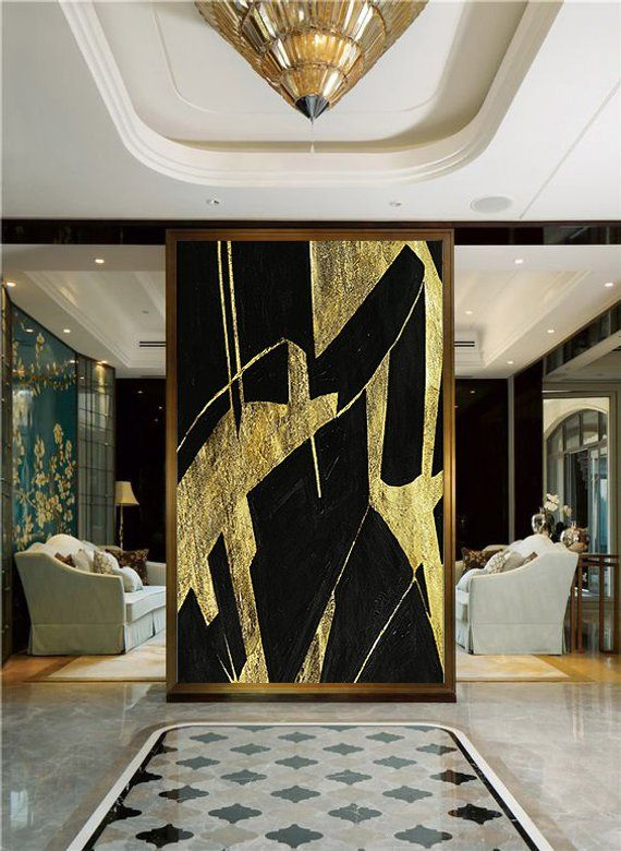 Large Abstract Painting, Black And Gold Leaf Wall Art On Thick Linen Canvas, Ext...