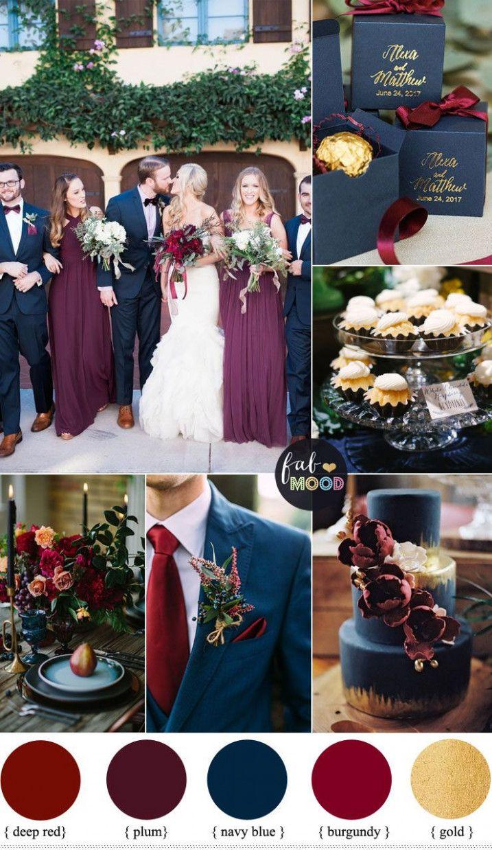 plum burgundy and navy blue wedding with gold accents for #WeddingIdeas #FallCol...