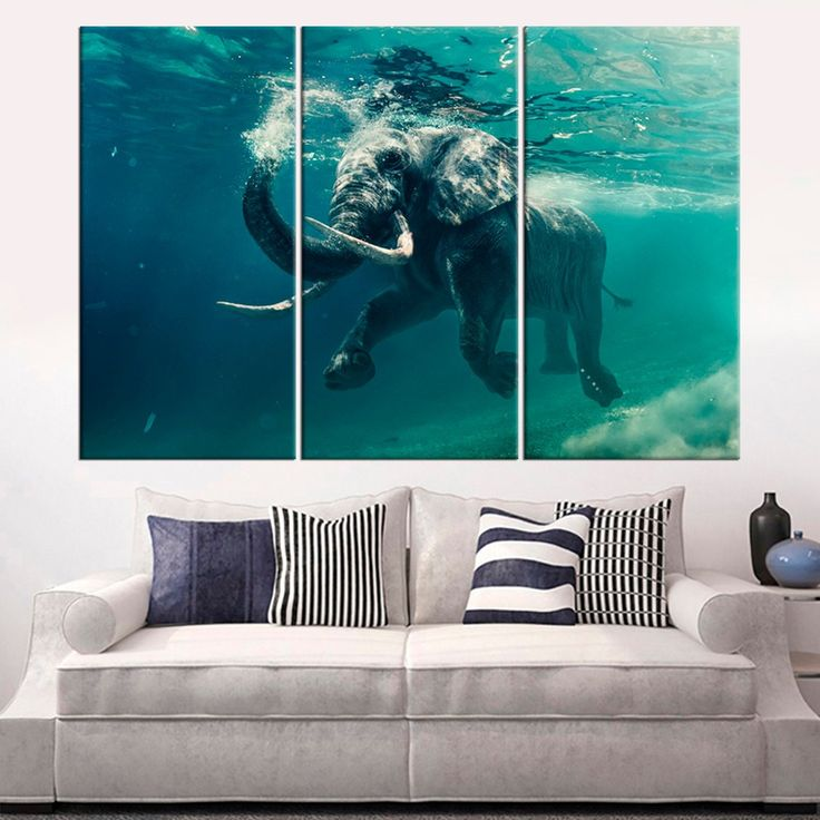 Elephant in Sea large canvas print Underwater Elephant wall art decor Modern can...