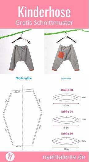 Free Sewing Pattern Kids Pants made of sweatshirt fabric # sew #freebook #cutm ...