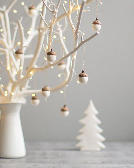 White Christmas Ornaments - Felt Acorn Decorations - Set of 6 Magical Forest ...