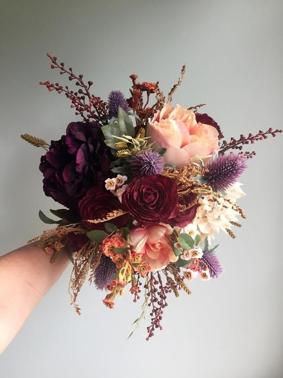 This silk fall wedding bouquet with its rustic detail is perfect for the autumn ...